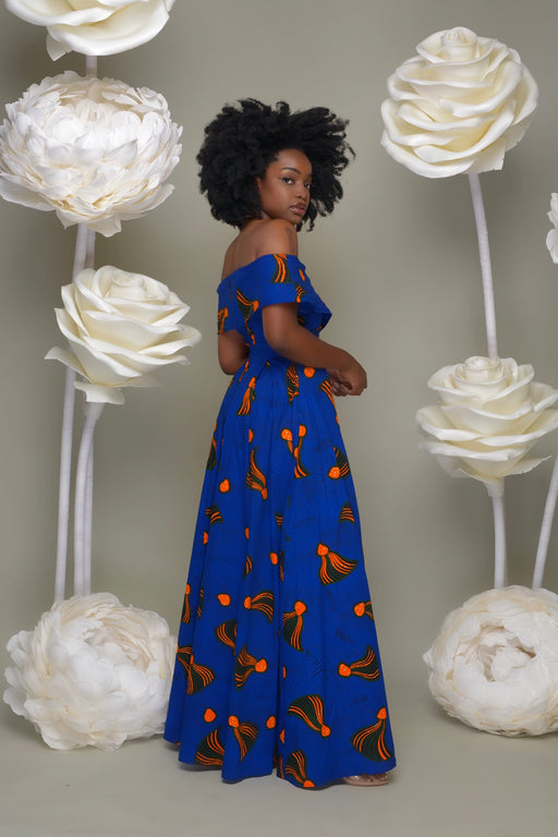 Eniola Off Shoulder Ankara Print Maxi Dress - Blue/Orange | Dresses | Flair By Ashi