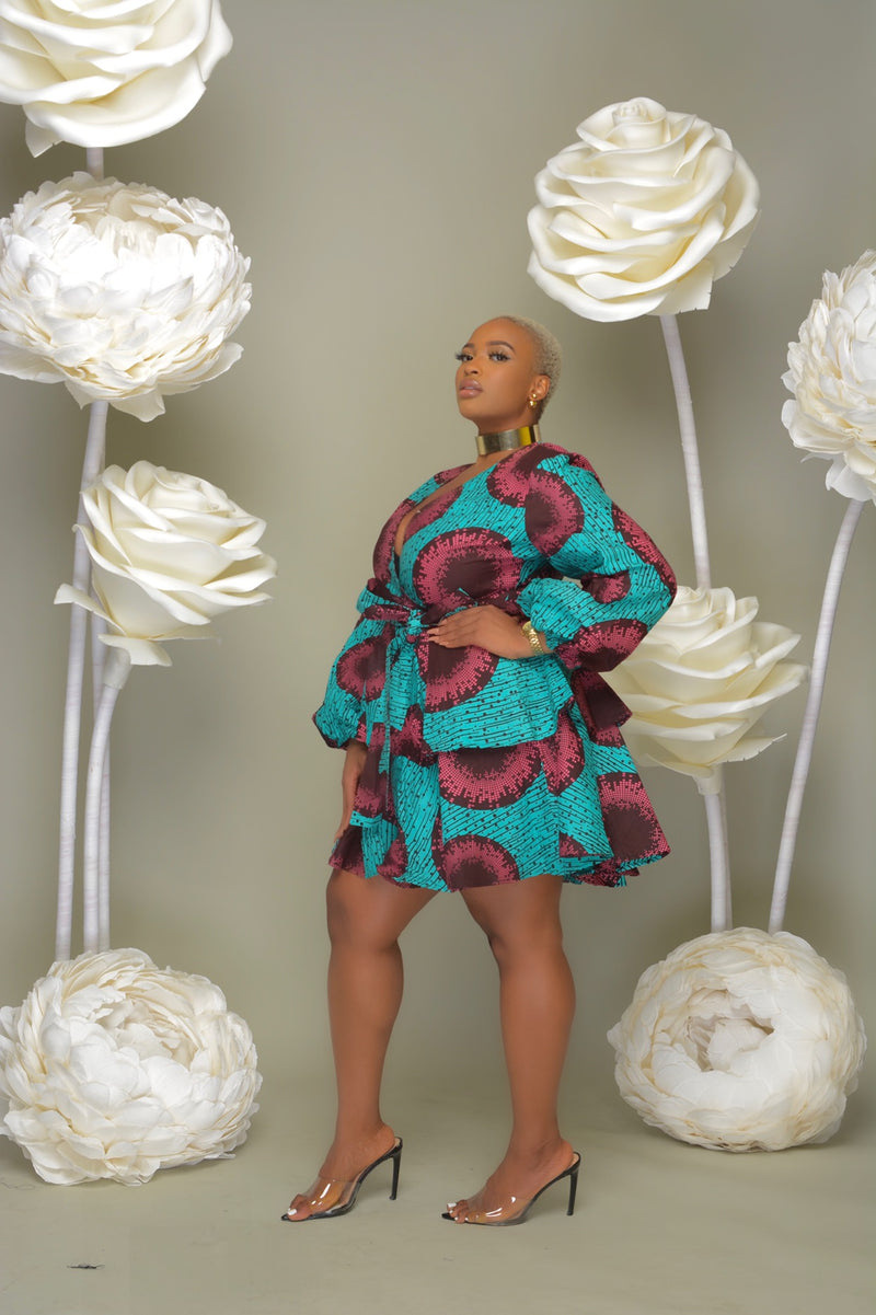 OMOTE Ankara Print Bell Sleeves 2 Tier Dress with belts - Turquoise/Pink | Dresses | Flair By Ashi