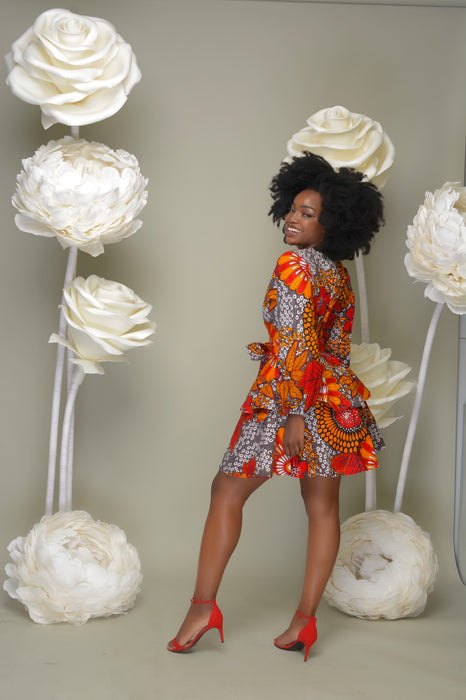 OMOTE Ankara Print Bell Sleeves 2 Tier Dress with belts - Orange/Red | Dresses | Flair By Ashi