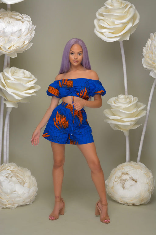 Abiye Ankara print Off Shoulder Two Piece Short Set- Blue/Orange | Jumpsuits | Flair By Ashi