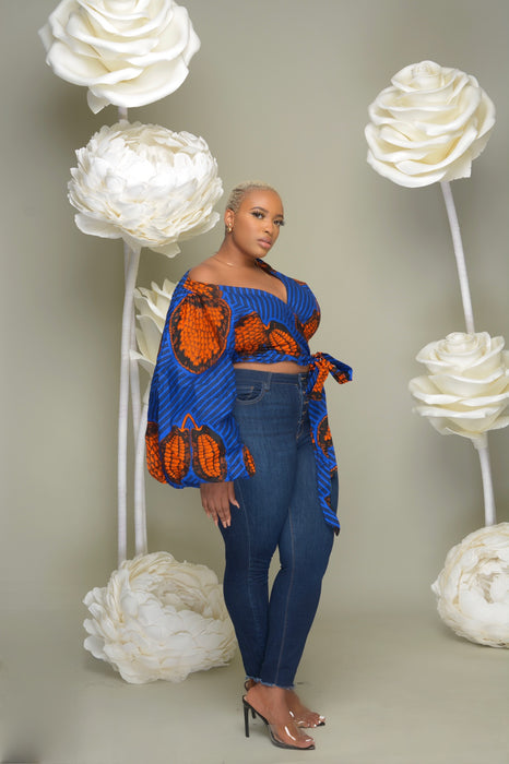 ESEOSA Ankara Print Bell Sleeves Wrap Cropped Top Blue Orange | Tops | Flair By Ashi