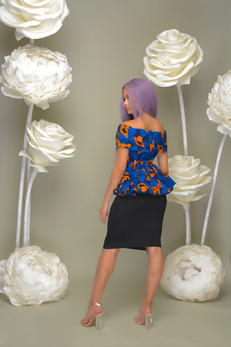 Ugochi Off Shoulder Peplum Top Blue | Tops | Flair By Ashi