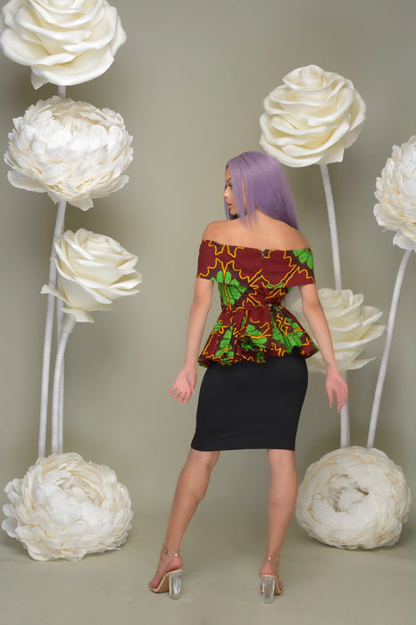 Ugochi Off Shoulder Peplum Top Green | Tops | Flair By Ashi