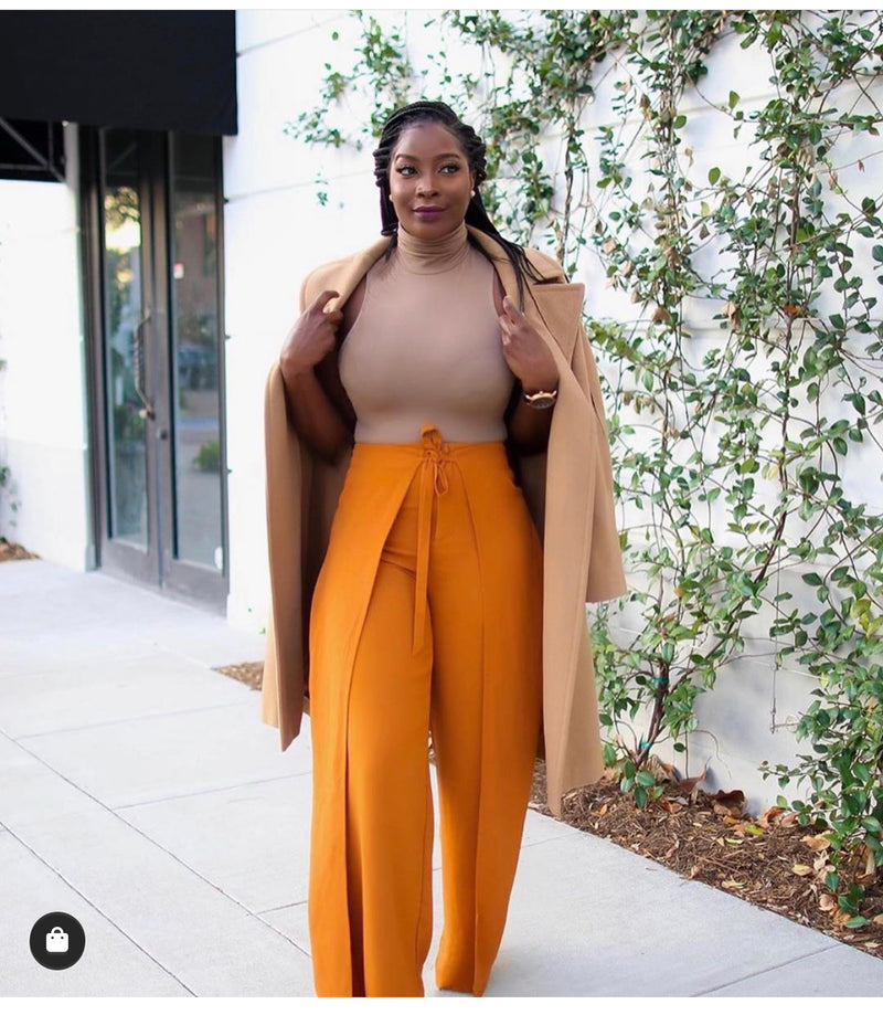 Phoebe High Waist Wrap Front Wide Leg Pants Burnt Orange