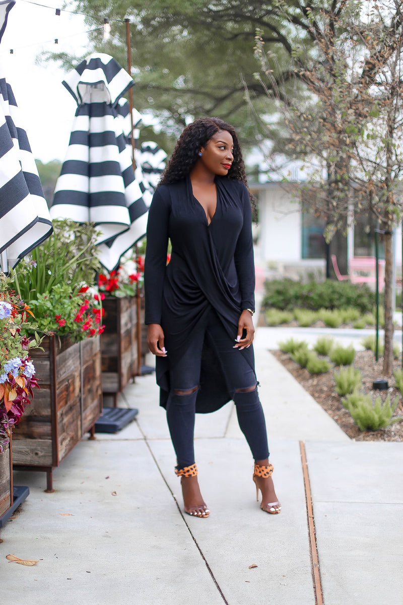 Crossroads Draped Tunic Long sleeve Blouse