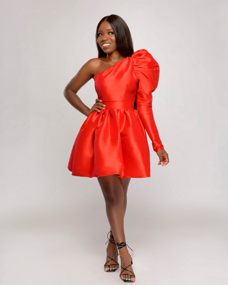 Tis' the Season One-shoulder Puff Shoulder Sleeve Flair Dress- Red