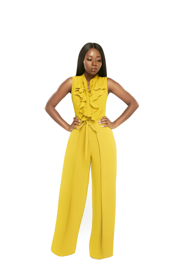 Phoebe High Waist Wrap Front Wide Leg Pants Chartreuse