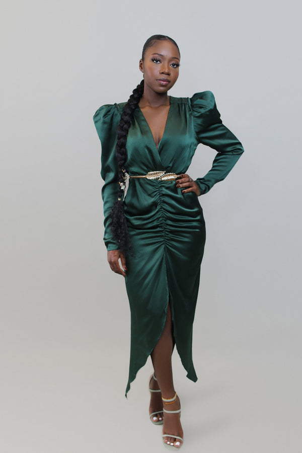 Sleigh Ruched Dress- Dark Green