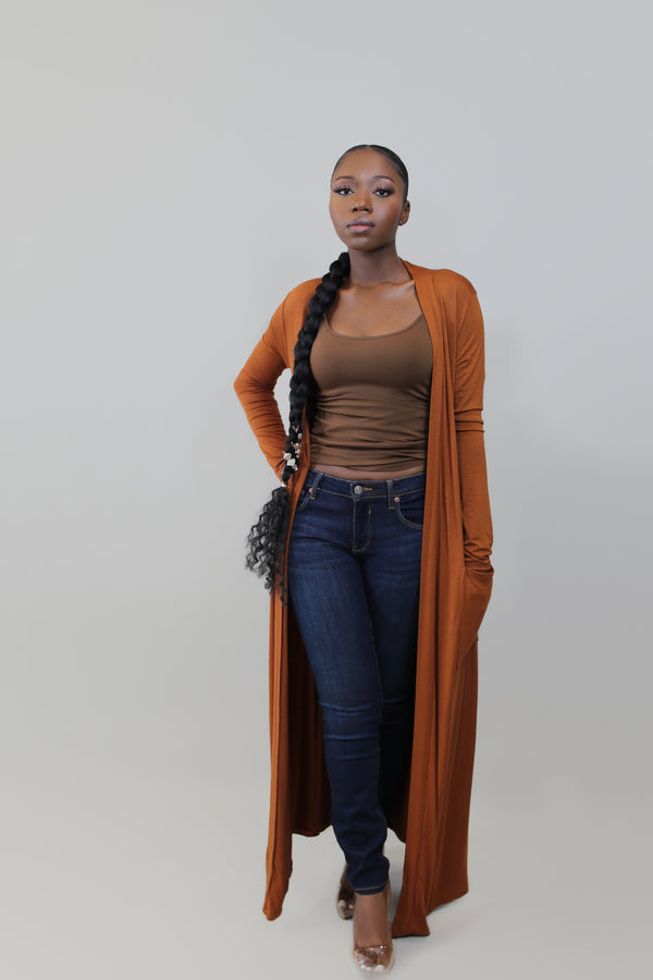 Let's Chill Long Duster Cardigan- Orange