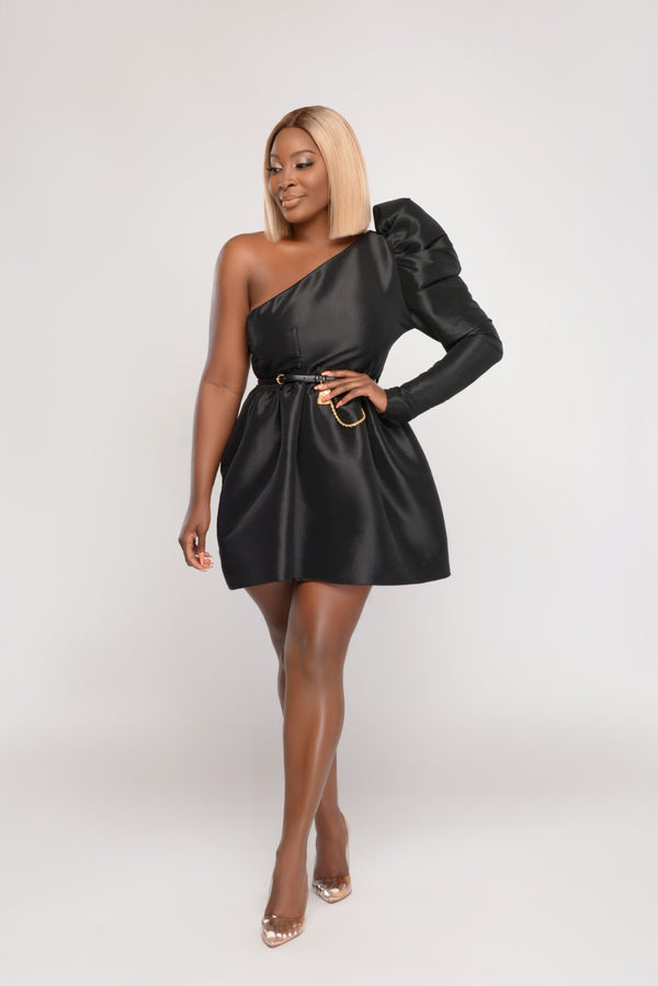 Tis' the Season One-shoulder Puff Shoulder Sleeve Flair Dress- Black