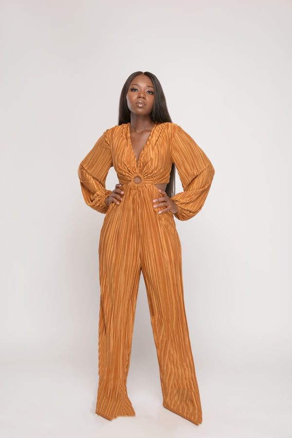 Her Fancy Gold Long Sleeve Pleated Side Cutout Jumpsuit