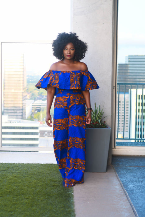 Tomi Ankara Off shoulder crop Top /Pants Two Set - Blue