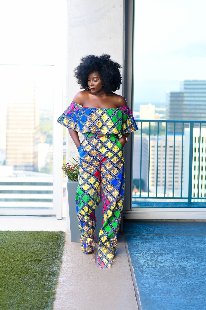 Tomi Ankara Off shoulder crop Top /Pants Two Set - Multi | Jumpsuits | Flair By Ashi