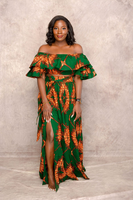 Yemi Ankara Off shoulder crop Top /Skirt Two Set - Green