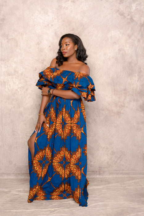 Yemi Ankara Off shoulder crop Top /Skirt Two Set - Blue | Tops | Flair By Ashi