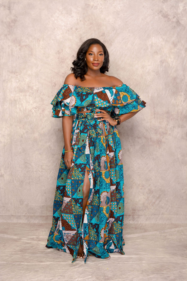 Yemi Ankara Off shoulder crop Top /Skirt Two Set - Multi | Tops | Flair By Ashi