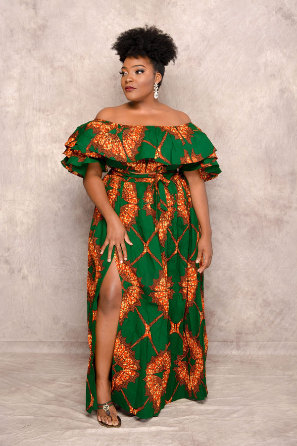 Yemi Ankara Off shoulder crop Top /Skirt Two Set - Green | Tops | Flair By Ashi