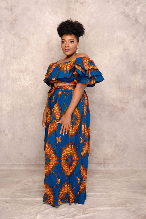 Yemi Ankara Off shoulder crop Top /Skirt Two Set - Blue