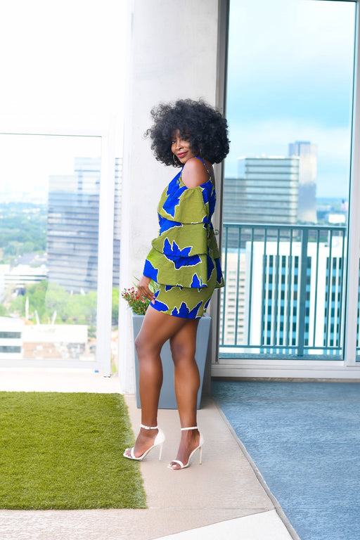 Yetunde Blue/Green Romper with Frills | Jumpsuits | Flair By Ashi