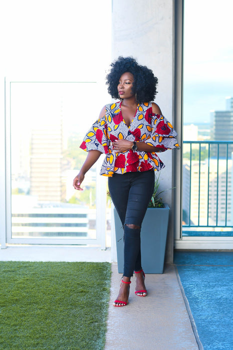 Adaora Ankara Peplum Top with  Double Frills -Red/Yellow