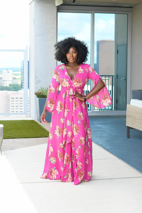 Bubble Gum Floral Maxi Dress with cut out sleeves