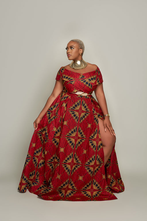 Eniola Off Shoulder Ankara Print Maxi Dress - Red/Orange | Dresses | Flair By Ashi