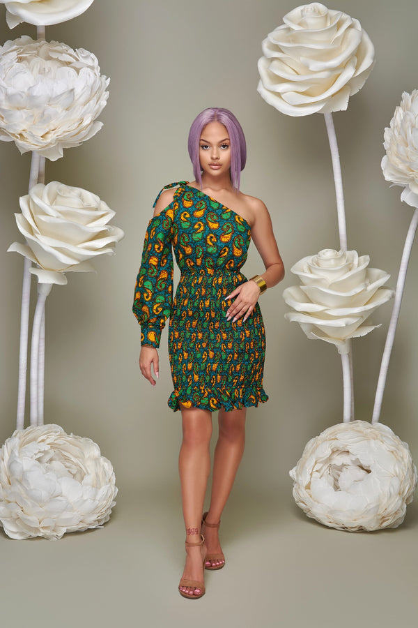 Ezinne one shoulder Ankara Print dress-Green Multi | Dresses | Flair By Ashi