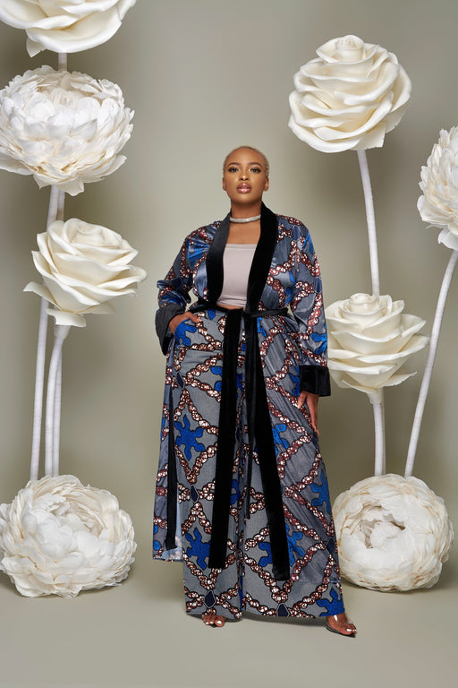 Aisha Ankara Print Velvet Kimono with Belt and Pockets Blue | Jackets | Flair By Ashi