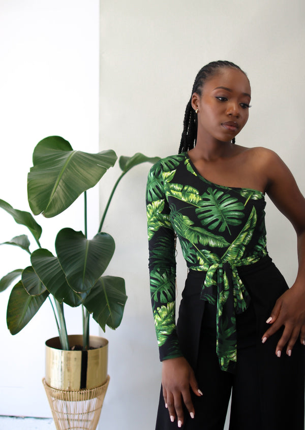 Tropic Like It's Hot Bodysuit- Black/ Green