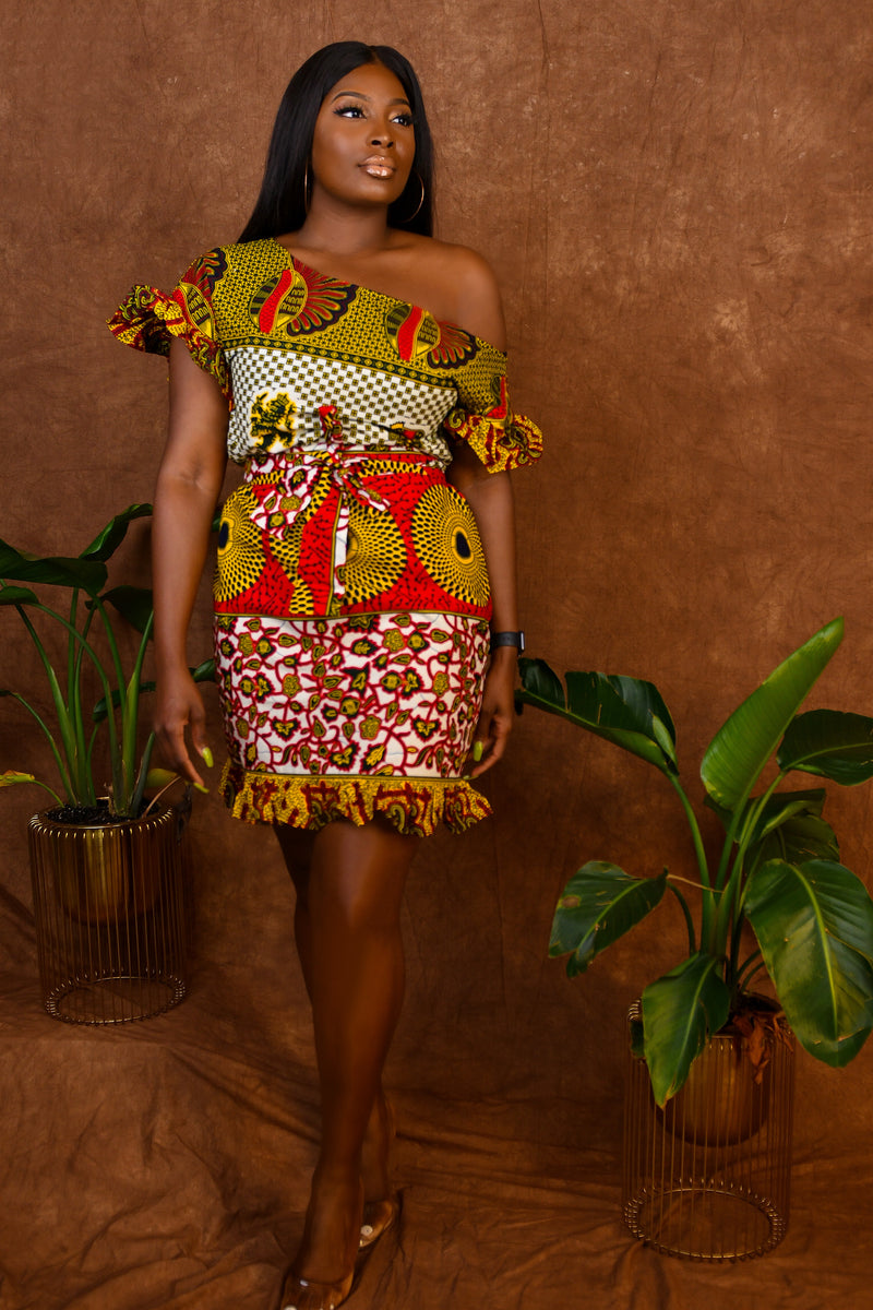 Ifeoma African Print Off Shoulder Yellow-Red Multi Shift Ruffled dress with belt