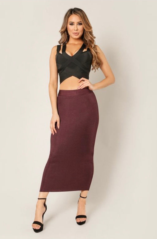 Sasha Burgundy Bandage Midi Skirt | | Flair By Ashi