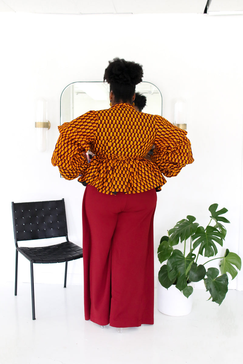 Jumoke Peplum Jacket with Belt and Lining Yellow/ Red