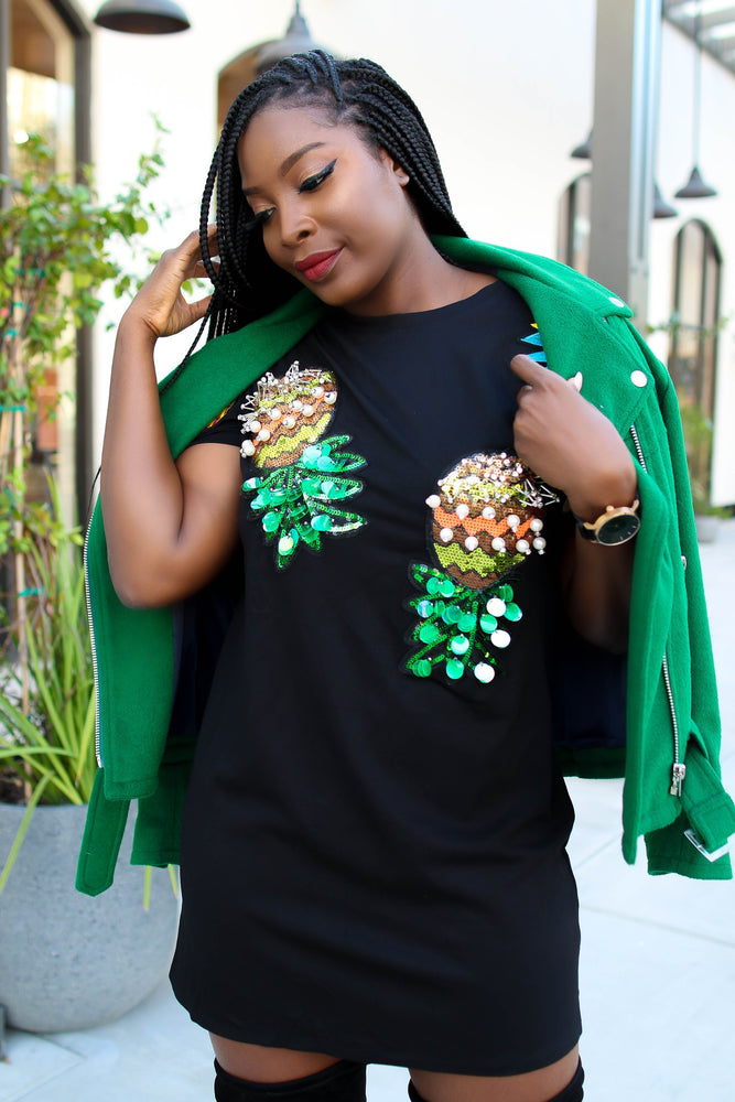 Pineapple Embellished T-Shirt Dress