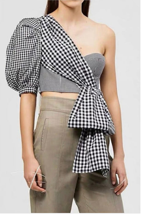 Check Please Cropped Bow Top