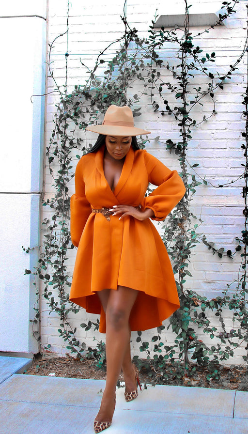 Rust High Low Coat with Belt