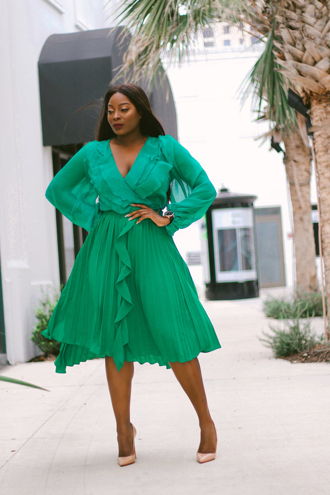 Courtney Green Pleated Midi Skirt with ruffles
