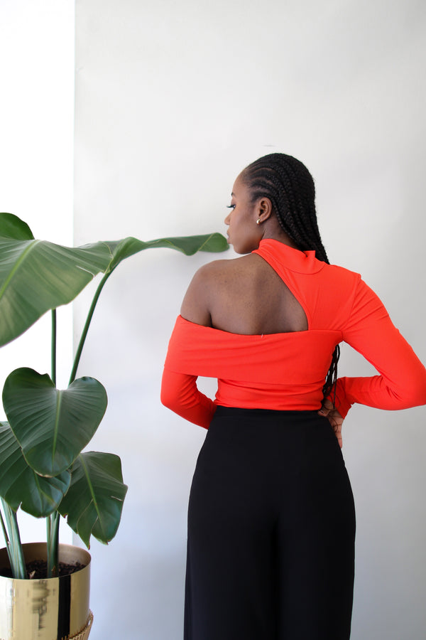 Cut It Out Long Sleeve Top- Orange Red