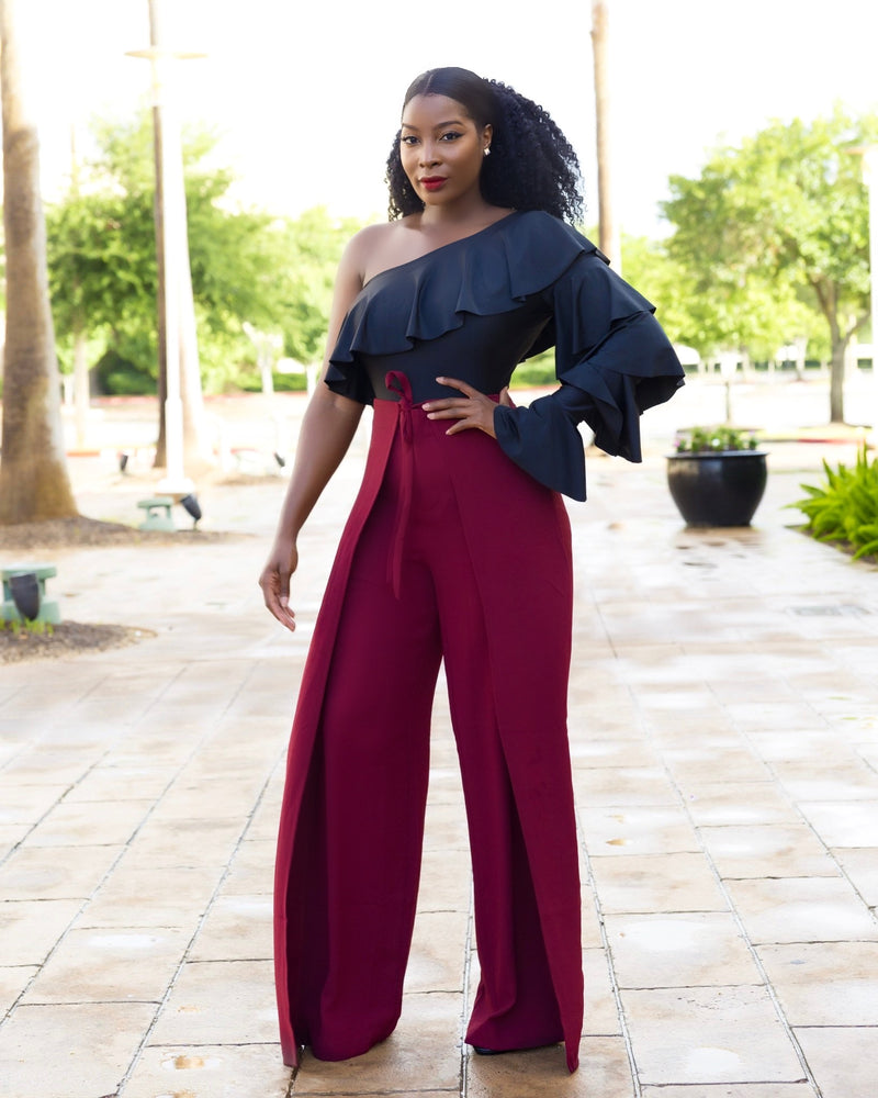 Phoebe High Waist Wrap Front Wide Leg Pants Burgundy