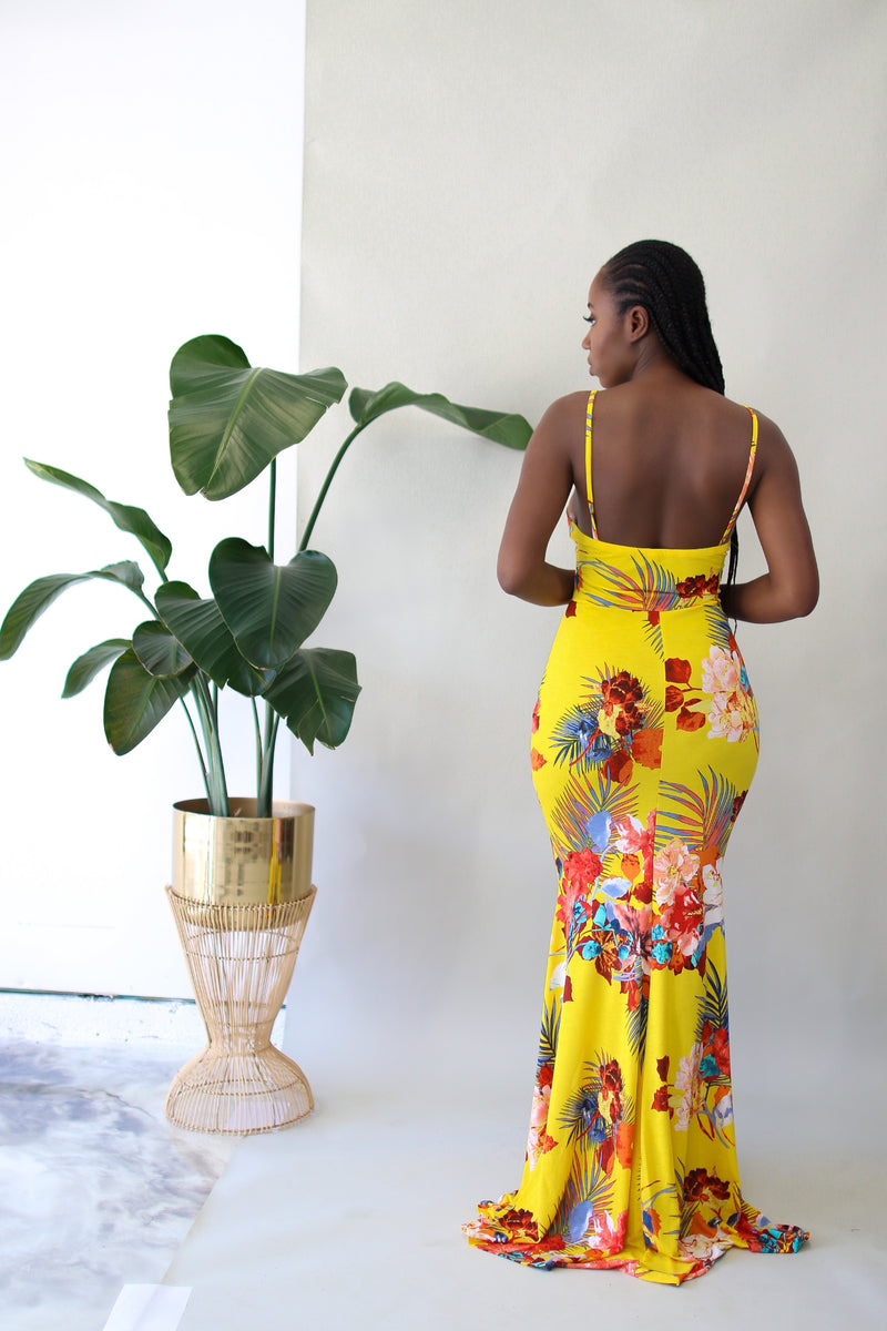 Walking On Sunshine Maxi Dress- Yellow Multi