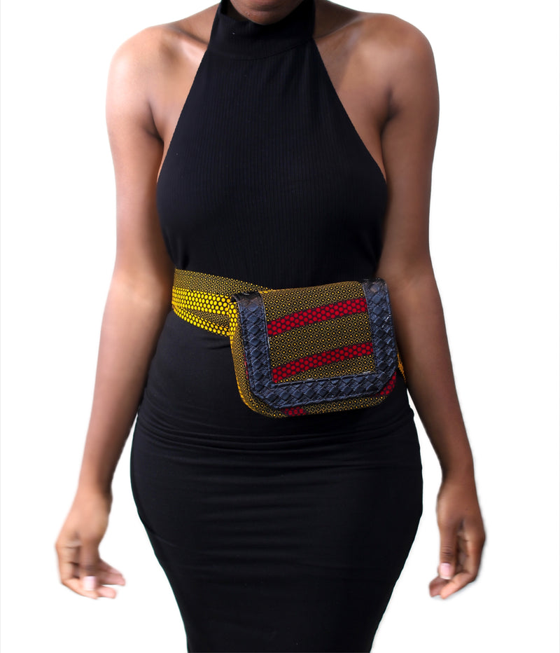 Anuli Mini Crossover Bag- Yellow Black Multi Leather