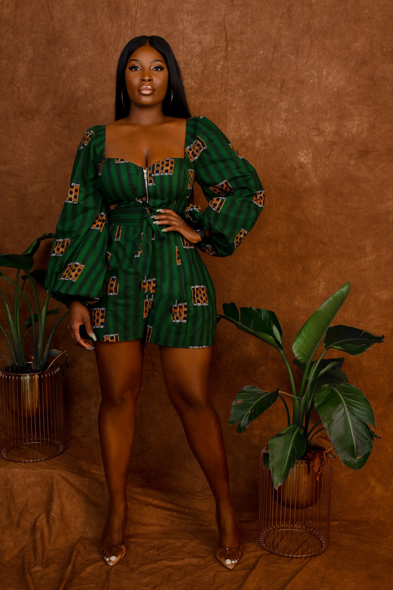 Uju African Print Green/Yellow Bell Sleeve Romper with Front Gold Zipper