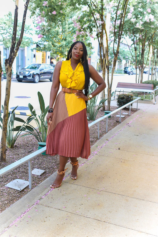 Mellow Yellow color blocked Two piece set | New Arrivals | Flair By Ashi