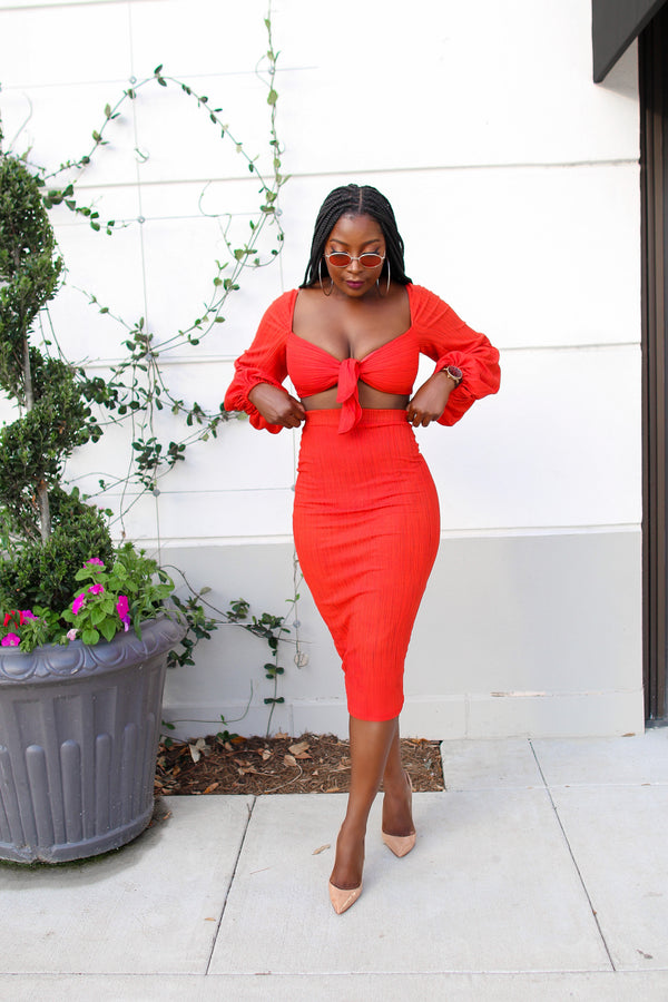 Lady Bella Two piece Bell Sleeve Crop Top and Midi Skirt Set