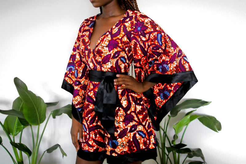Ijeoma African Print Romper with Kimono Sleeves -Orange/ Berry multi
