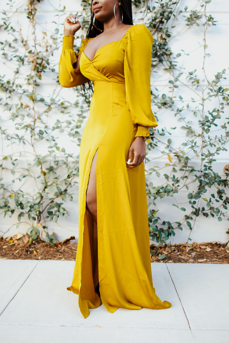 Amelia Puff Sleeve Maxi Slit Dress with Elastic cuffs