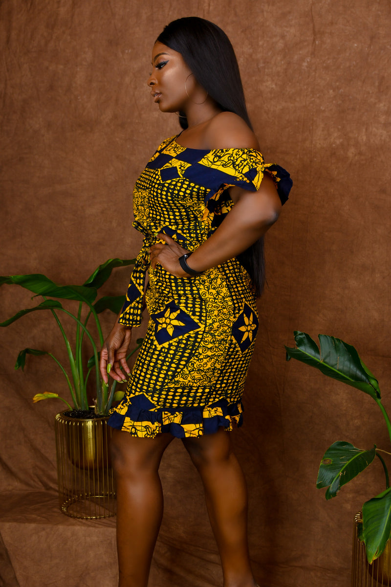 Ifeoma African Print Off Shoulder Black-Yellow Shift Ruffled dress with belt