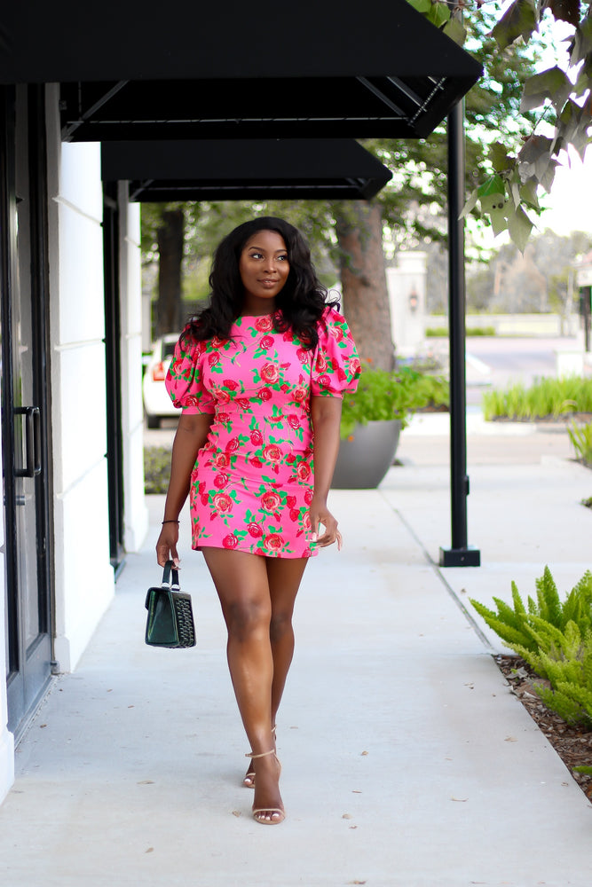 Lady V Puff Sleeve Pink Floral dress