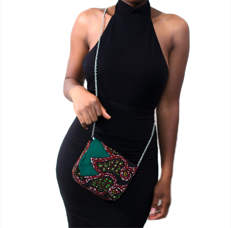 Anuli Mini Handstoned Crossover Bag- Green