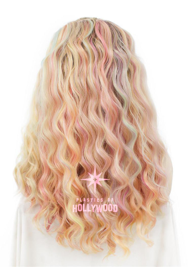 PASTEL RAINBOW - Multicolor Rooted Beach Wave Wig