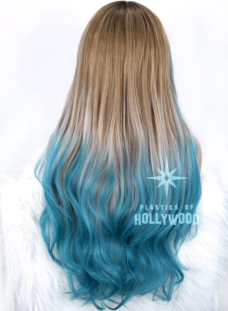 OCEAN WAVES - Rooted Sand Blonde Wig w/ Ombre Turquoise Ends